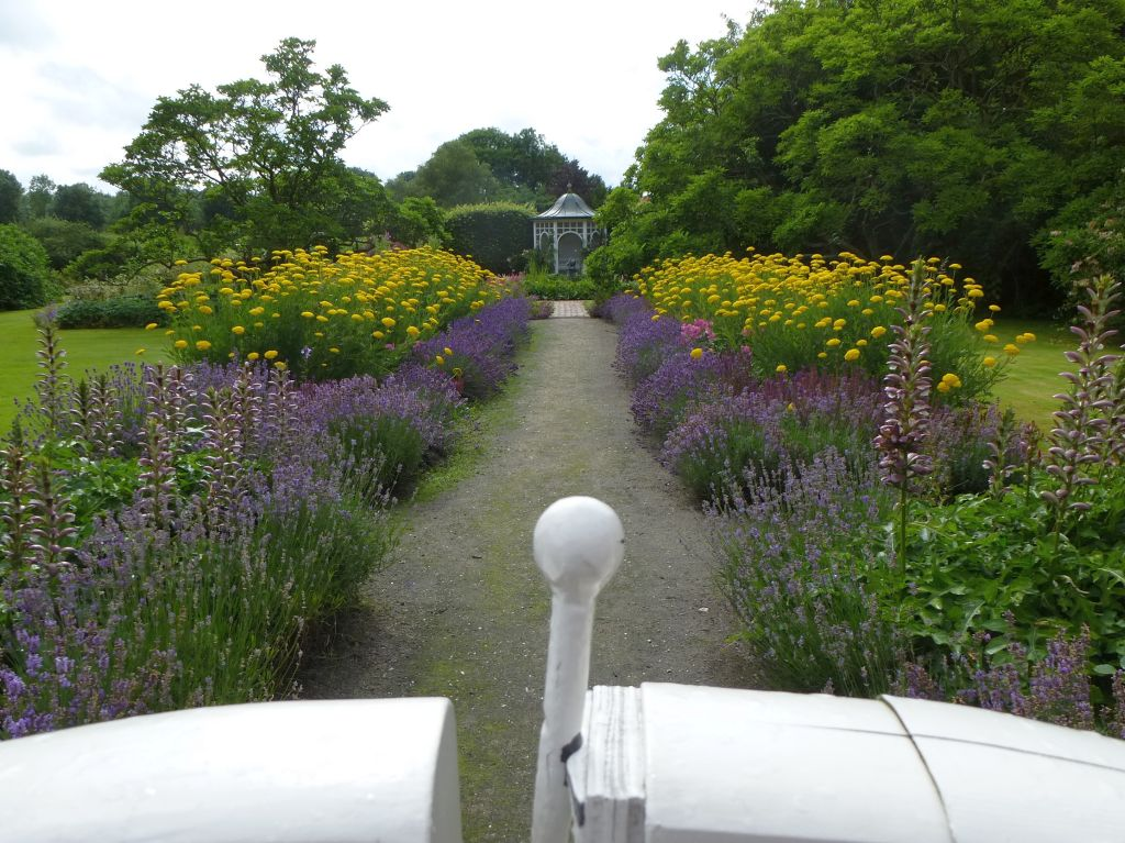 Das Foto zeigt den Blick in einen Stadtgarten mit Sommerblumen. Das Foto ist von Lisa K. Schuermann.