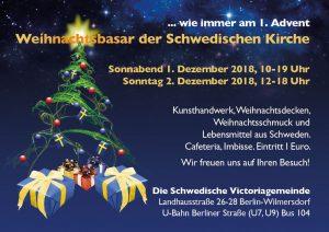 Einladung zum Weihnachtsbasar 2018 in der Schwedischen Kirche in berlin, Copyright Svenska Kyrkan i Berlin